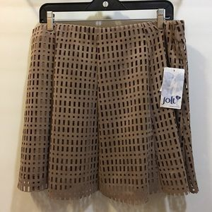 Jolt laser cut perforated tan lined skirt NWT